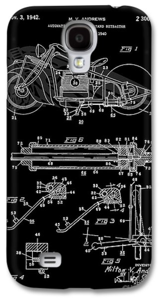 Drawing Of The Factory Galaxy S4 Cases - Automate Motorcycle Stand Retractor. Black and White Galaxy S4 Case by Brian Lambert