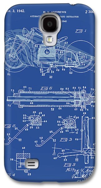 Drawing Of The Factory Galaxy S4 Cases - Automate Motorcycle Stand Retractor Lite Blue Galaxy S4 Case by Brian Lambert