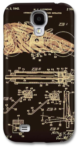 Drawing Of The Factory Galaxy S4 Cases - Automate Motorcycle Stand Retractor Red and Black Galaxy S4 Case by Brian Lambert