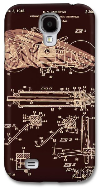 Drawing Of The Factory Galaxy S4 Cases - Automate Motorcycle Stand Retractor Red Brown Galaxy S4 Case by Brian Lambert