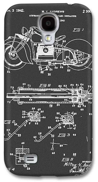 Drawing Of The Factory Galaxy S4 Cases - Autonatic Motorcycle Stand Reracor Lit Black Galaxy S4 Case by Brian Lambert