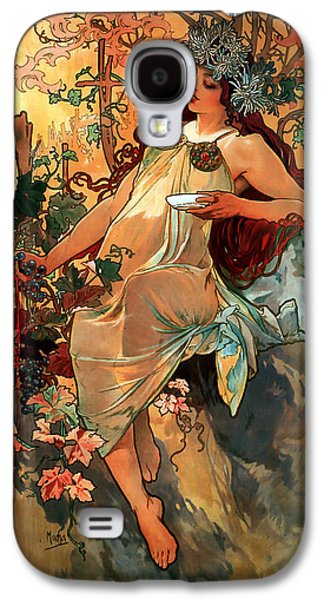 Grapes Art Deco Galaxy S4 Cases - Autumn Galaxy S4 Case by Alphonse Maria Mucha