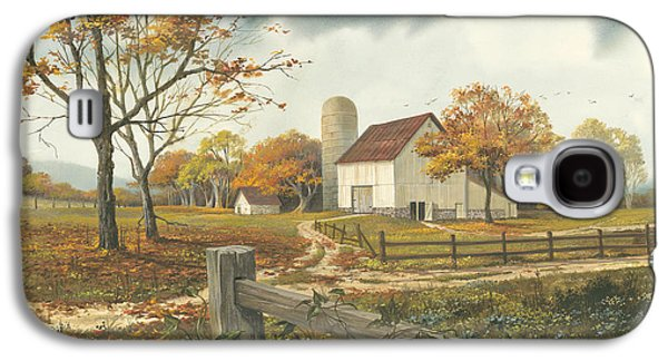 Road Paintings Galaxy S4 Cases - Autumn Barn Galaxy S4 Case by Michael Humphries