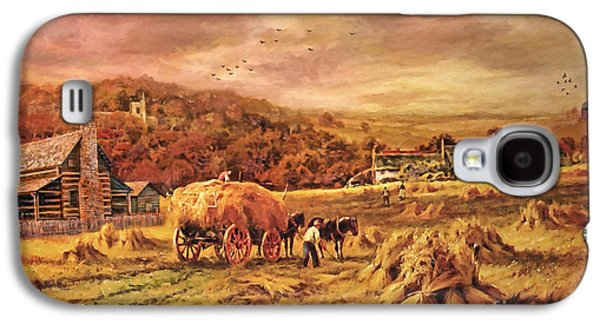 Harvest Time Galaxy S4 Cases - Autumn Folk Art - Haying Time Galaxy S4 Case by Lianne Schneider