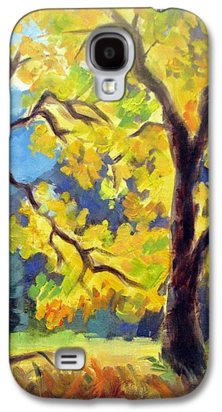 Half Dome Paintings Galaxy S4 Cases - Autumn Gold Yosemite Valley Galaxy S4 Case by Karin  Leonard