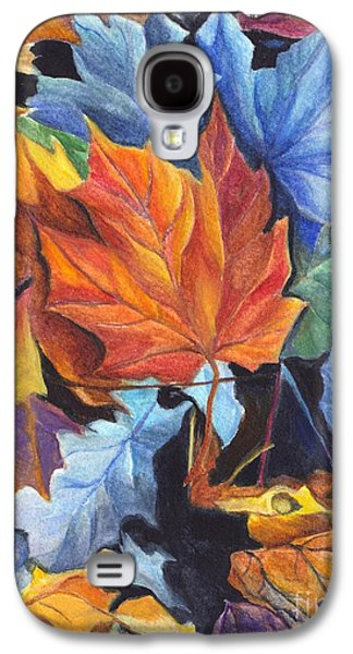 Earth Tones Drawings Galaxy S4 Cases - Autumn Leaves of Red and Gold Galaxy S4 Case by Carol Wisniewski