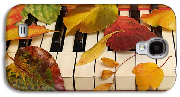 Piano Photographs Galaxy S4 Cases - Autumn Leaves Tickle the Ivories Galaxy S4 Case by Anna Lisa Yoder