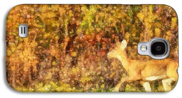 Painter Mixed Media Galaxy S4 Cases - Autumn Light Deer In Forest Galaxy S4 Case by Dan Sproul