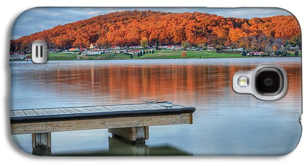 Autumn Leaf On Water Galaxy S4 Cases - Autumn Red at Lake White Galaxy S4 Case by Jaki Miller
