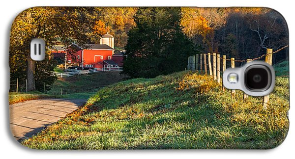 Old Country Roads Photographs Galaxy S4 Cases - Autumn Road Morning Galaxy S4 Case by Bill  Wakeley