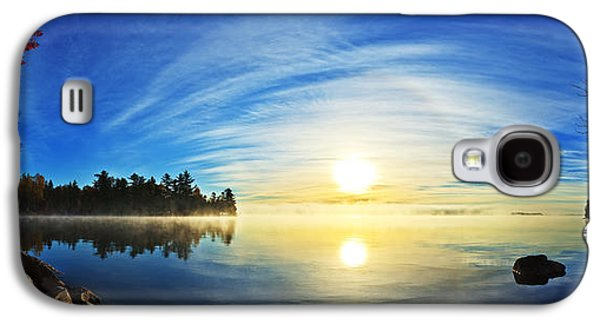 Sun Galaxy S4 Cases - Autumn Sunrise at Meddybemps Panorama Galaxy S4 Case by Bill Caldwell -        ABeautifulSky Photography