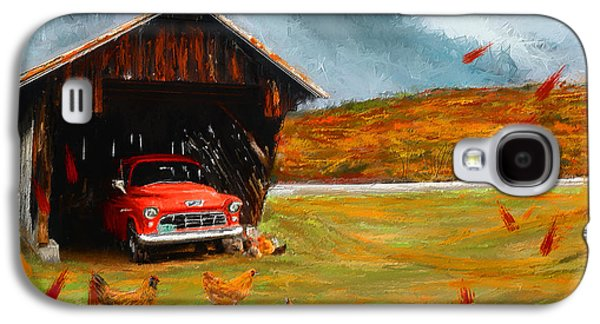 Farming Paintings Galaxy S4 Cases - Autumnal Restful View-Farm Scene Paintings Galaxy S4 Case by Lourry Legarde