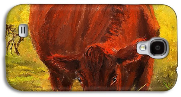 Autumn Scenes Galaxy S4 Cases - Autumns Afternoon - Cow Painting Galaxy S4 Case by Lourry Legarde