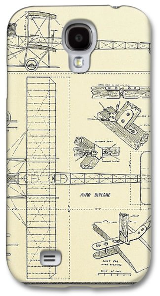 Aviator Drawings Galaxy S4 Cases - Avro Biplane Scale Drawing 1912 Galaxy S4 Case by Vintage Product Ads