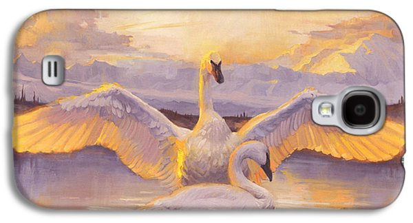Swans... Paintings Galaxy S4 Cases - Awakening Galaxy S4 Case by Douglas Girard
