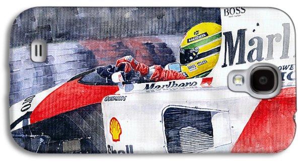 Watercolor Paintings Galaxy S4 Cases - Ayrton Senna McLaren 1991 Hungarian GP Galaxy S4 Case by Yuriy Shevchuk