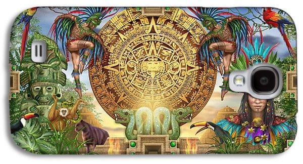 Jester Digital Art Galaxy S4 Cases - Aztec Mayhem Montage Galaxy S4 Case by Ciro Marchetti