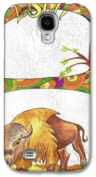 Bison Drawings Galaxy S4 Cases - B is for Bison Galaxy S4 Case by Carolyn Polk