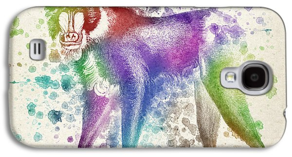 Vibrant Colors Digital Galaxy S4 Cases - Baboon Splash Galaxy S4 Case by Aged Pixel