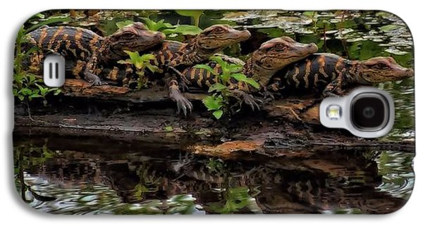 Pond In Park Galaxy S4 Cases - Baby Alligators Reflection Galaxy S4 Case by Dan Sproul