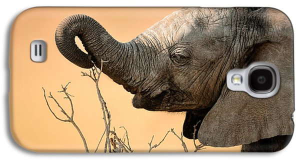Small Photographs Galaxy S4 Cases - Baby elephant reaching for branch Galaxy S4 Case by Johan Swanepoel