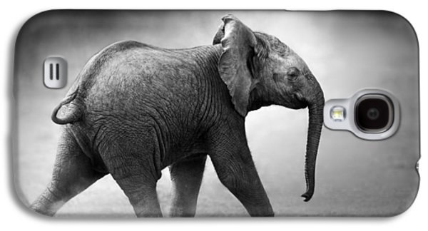 Small Photographs Galaxy S4 Cases - Baby Elephant running Galaxy S4 Case by Johan Swanepoel