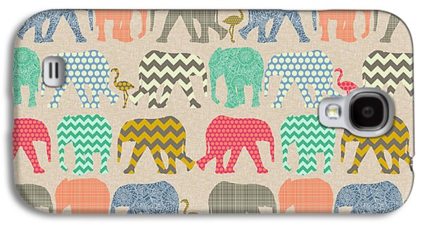 Baby Elephants And Flamingos Linen Galaxy S4 Case by Sharon Turner