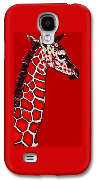 Giraffe Digital Galaxy S4 Cases - Baby Giraffe In Red Black And White Galaxy S4 Case by Jane Schnetlage