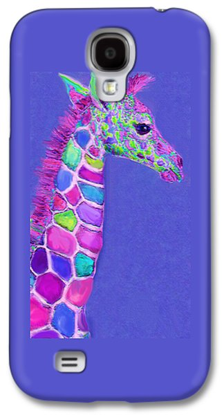 Giraffe Digital Galaxy S4 Cases - Baby Giraffe Pink And Purple Galaxy S4 Case by Jane Schnetlage