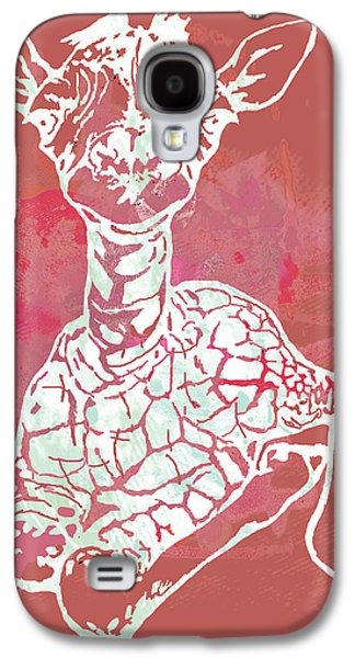 Terrestrial Galaxy S4 Cases - Baby Giraffe -  pop modern etching art poster Galaxy S4 Case by Kim Wang