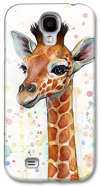 Girl Galaxy S4 Cases - Baby Giraffe Watercolor Painting Galaxy S4 Case by Olga Shvartsur