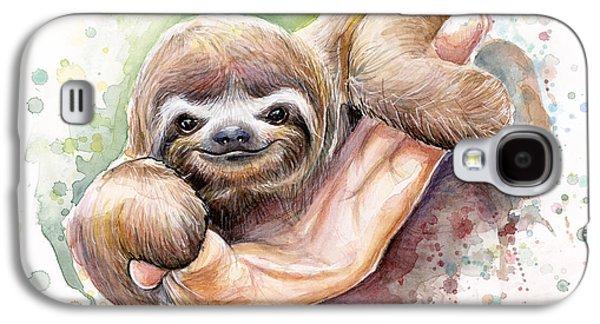 Cloth Galaxy S4 Cases - Baby Sloth Watercolor Galaxy S4 Case by Olga Shvartsur