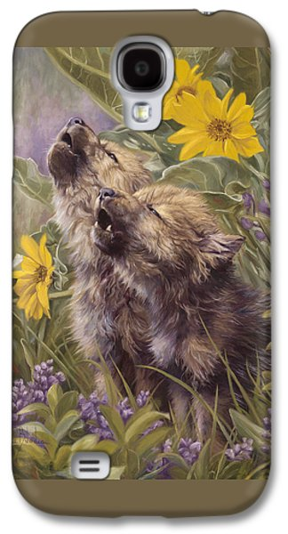 Puppies Galaxy S4 Cases - Baby Wolves Howling Galaxy S4 Case by Lucie Bilodeau