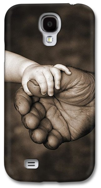 Big 3 Galaxy S4 Cases - Babys Hand Holding On To Adult Hand Galaxy S4 Case by Corey Hochachka