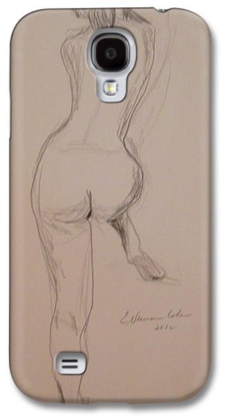 Posters Of Nudes Galaxy S4 Cases - Back of Nude with Foot Up Galaxy S4 Case by Esther Newman-Cohen