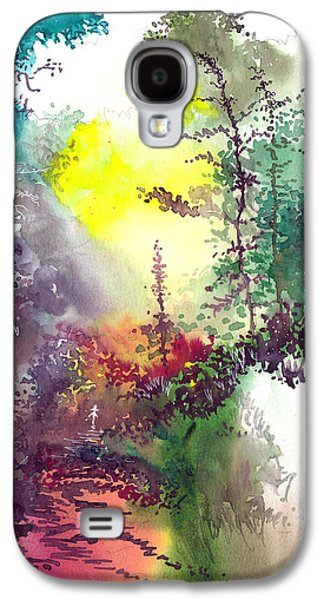Autumn Landscape Drawings Galaxy S4 Cases - Back to Jungle Galaxy S4 Case by Anil Nene