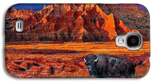 Bison Digital Art Galaxy S4 Cases - Badlands Bison American Icon Galaxy S4 Case by Michele  Avanti