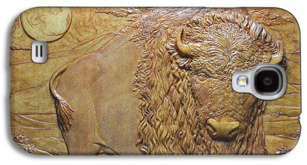 Bas Relief Reliefs Galaxy S4 Cases - Badlands Bull Galaxy S4 Case by Jeremiah Welsh