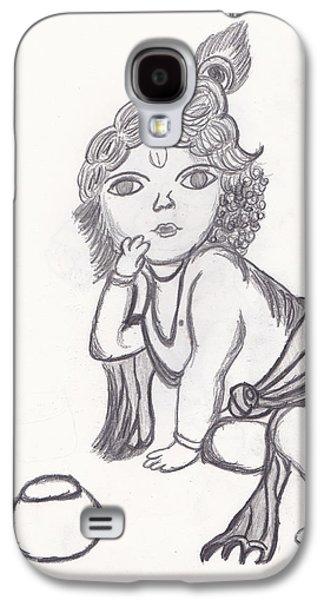 Religious Drawings Galaxy S4 Cases - Bal Gopal Sketch Galaxy S4 Case by Melissa Vijay Bharwani