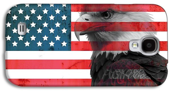 Stars And Stripes Mixed Media Galaxy S4 Cases - Bald Eagle American Flag Galaxy S4 Case by Dan Sproul