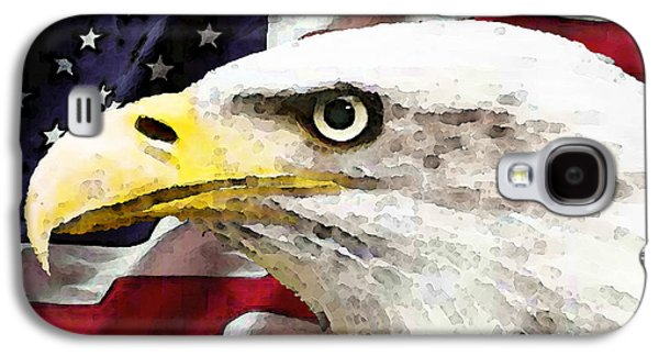 The Americas Galaxy S4 Cases - Bald Eagle Art - Old Glory - American Flag Galaxy S4 Case by Sharon Cummings