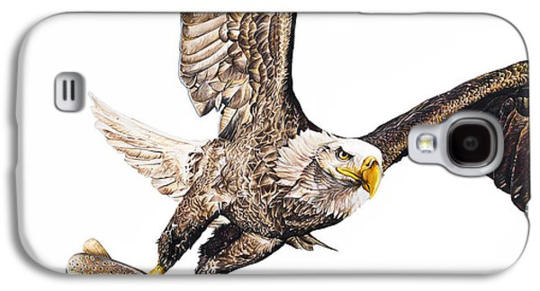 Photorealistic Galaxy S4 Cases - Bald Eagle Fishing White Background Galaxy S4 Case by Aaron Spong