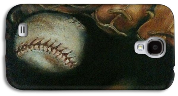 Baseball Glove Paintings Galaxy S4 Cases - Ball in Glove Galaxy S4 Case by Lindsay Frost