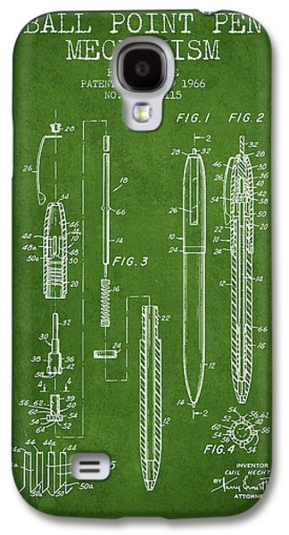 Pencil Digital Galaxy S4 Cases - Ball Point Pen mechansim patent from 1966 - Green Galaxy S4 Case by Aged Pixel