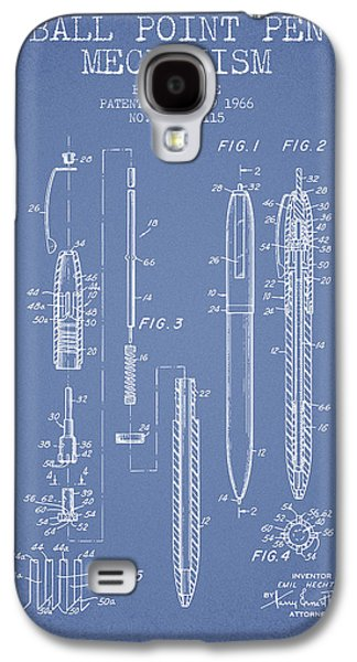 Pencil Digital Galaxy S4 Cases - Ball Point Pen mechansim patent from 1966 - Light Blue Galaxy S4 Case by Aged Pixel