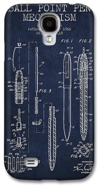 Pencil Digital Galaxy S4 Cases - Ball Point Pen mechansim patent from 1966 - Navy Blue Galaxy S4 Case by Aged Pixel