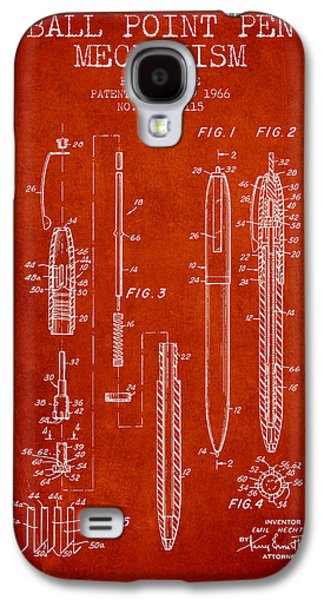 Pencil Digital Galaxy S4 Cases - Ball Point Pen mechansim patent from 1966 - Red Galaxy S4 Case by Aged Pixel