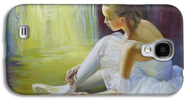 Dance Floor Paintings Galaxy S4 Cases - Ballerina Galaxy S4 Case by Elena Oleniuc