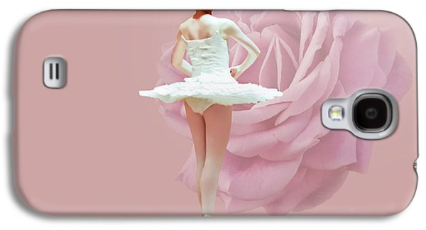 Dance Ballet Roses Galaxy S4 Cases - Ballerina in White with Pink Rose  Galaxy S4 Case by Delores Knowles