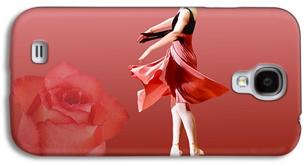 Dance Ballet Roses Galaxy S4 Cases - Ballerina On Pointe with Red Rose  Galaxy S4 Case by Delores Knowles